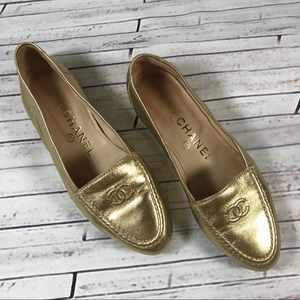 Chanel Metallic Gold Loafers Slip On Flats